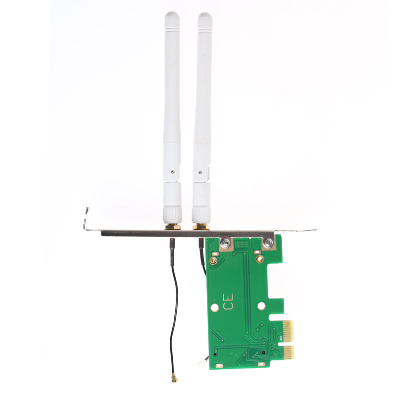 Wireless Wifi Network Card Mini PCI-E To PCI-E 1X Desktop Adapter + 2 Antennas M5TB