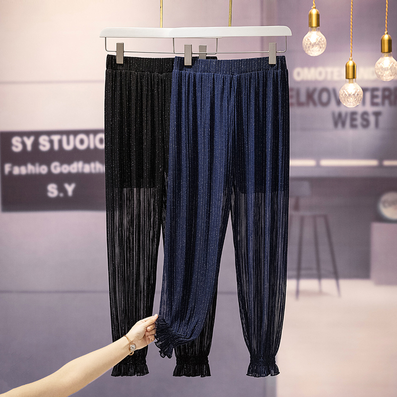 Plus Size 5XL Sexy Mesh Chiffon Pant Chic Daily Girls High Waist Women HaremTrousers Sequin Solid Peg Leg Summer Casual  Pants