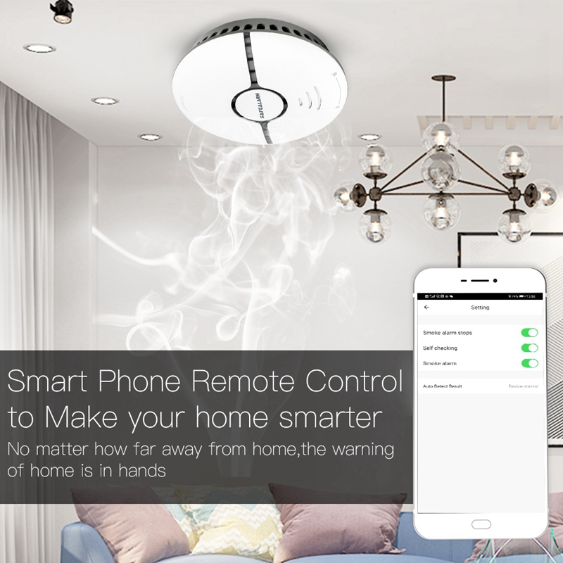 WiFi Smart Smoke Fire Gas Alarm Detector Home Security System Battery-Powered Alarm Wireless WIFI Smoke Sensor Contro
