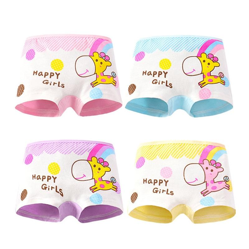4Pc Cartoon Girls Underwear Cotton Boxer Panties Kids Underpant Shorts 2