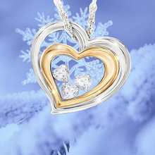Exquisite Double Heart White Heart Shape Crystal Zircon Necklace for Birthday Valentine's Day Gift Lover's Necklace Jewelry