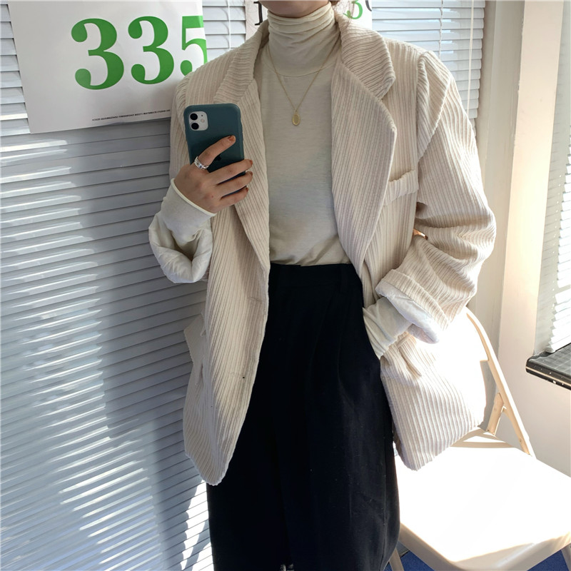 HziriP Retro Corduroy Blazer Coat Women Elegant Single Breasted Office Blazers Mujer Fashion Female Loose Jackets Casual Outwear