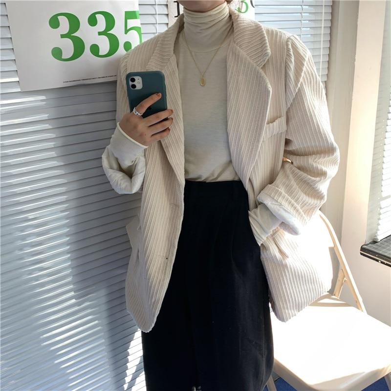 HziriP Retro Corduroy Blazer Coat Women Elegant Single Breasted Office Blazers Mujer Fashion Female Loose Jackets Casual Outwear