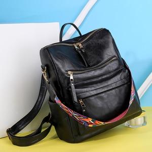Image 2 - Multifunction Backpack Women Leather Backpacks Large Capacity Bag Vintage back pack With Ethnic Strap mochila mujer 2020 XA55H