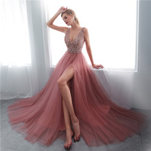 Zoe Saldana Women Evening Party Dresses sequin backless sleeveless sexy deep v-n