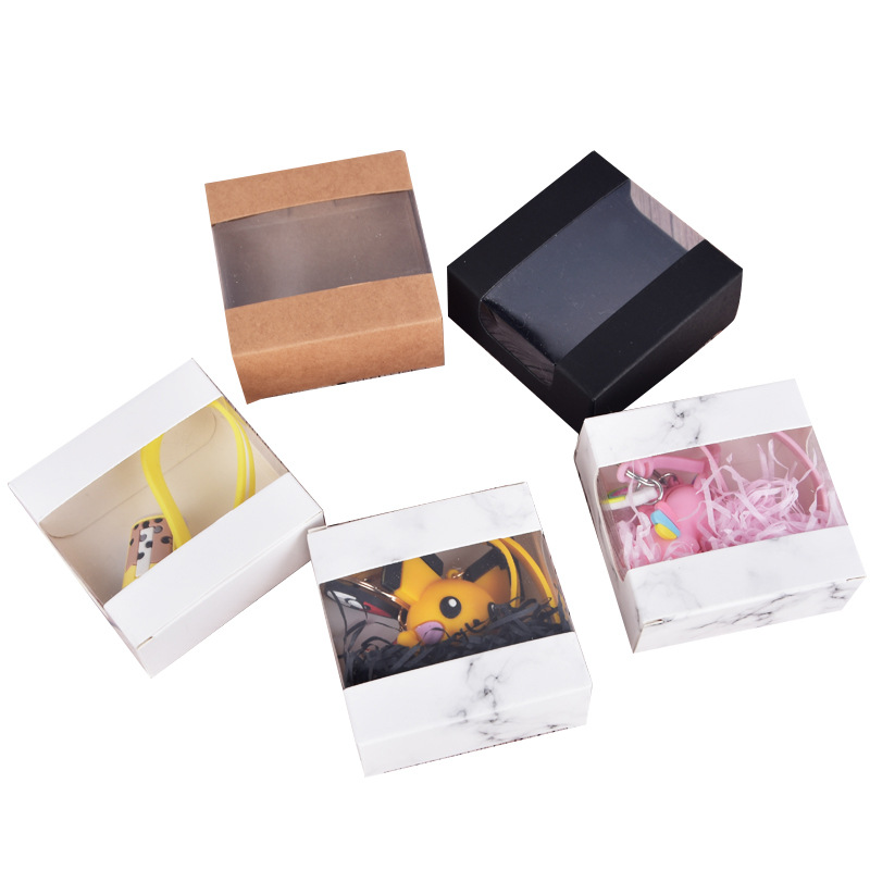 10/20 pcs 8x8x3.5cm Handmade soap window box keychain / digital product / cookies / candy / ornament packaging box Cupcake boxes