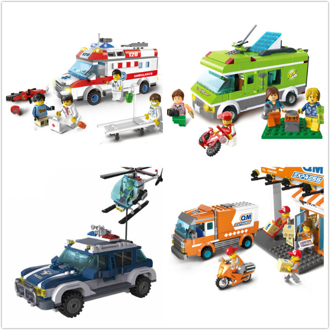 Models building toy Enlighten 1117 397Pcs City Police Series Helicopter Highway Pursuit Building Blocks