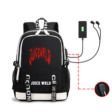 Juice Wrld Printed Backpack Men and Women Students Backpack Backpack Charging Headset Hole Multifunction Men's Backpack Male Bag