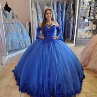 Royal Blue Quinceanera Dresses 2020 Lace Applique Beaded Sweetheart Lace up Corset Back Sweet 16 Dress Prom Gowns