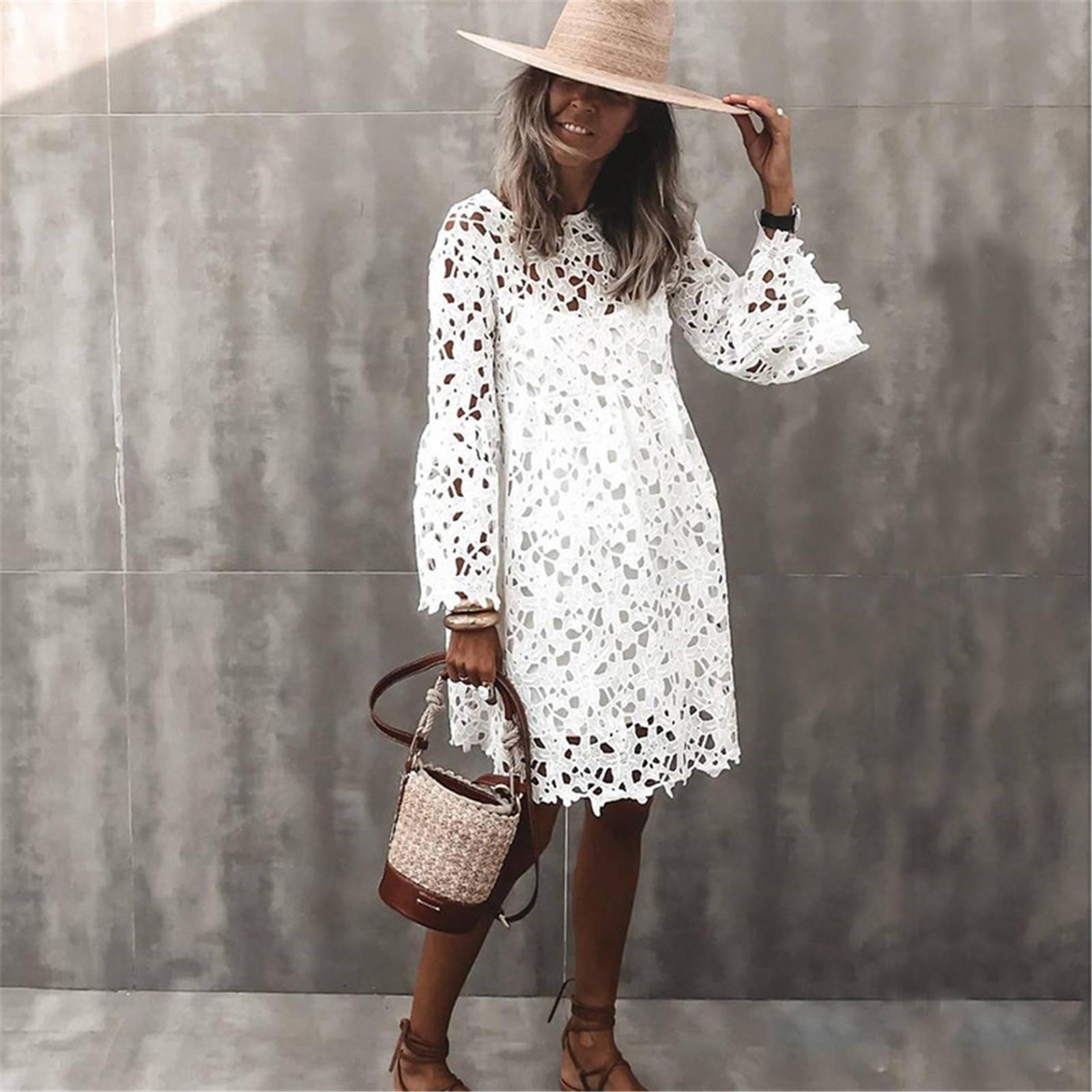 4# Summer Dress 2021 Round Neck Lace Trumpet Sleeve Ruffle Dress Long Sleeve Above Knee Mini Dress Robe Femme Платье Летнее
