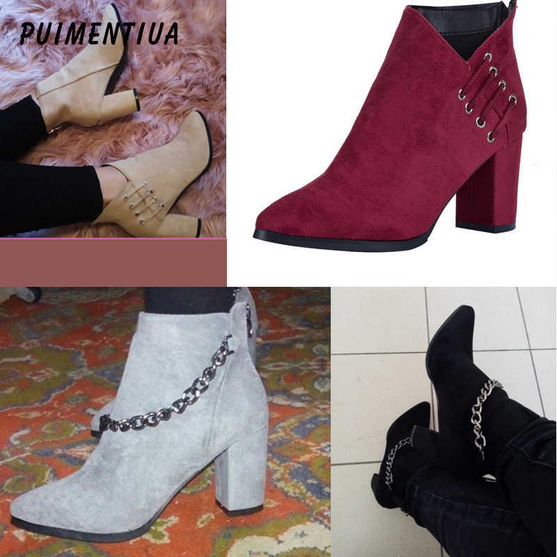 PUIMENTIUA 2 renk kadın ayakkabı kış sonbahar kadın Botas ayakkabı rahat kadın yüksek topuklu pompalar sıcak yarım çizmeler Mujer Zapatos