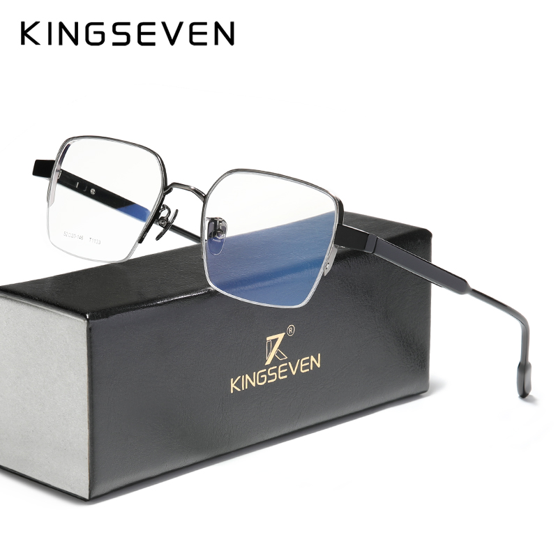 Gafas KINGSEVEN Pure Titanium + Acetato, gafas de media montura para hombres, gafas graduadas para miopía 2020 cuadradas, gafas masculinas de Metal