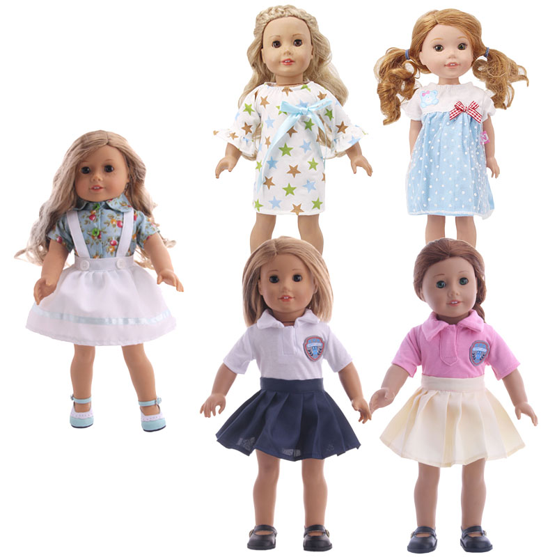 8 Pieces Doll Clothes Academy Fashion Skirt Set For 18 Inch American & 43 Cm Born Generation Baby Christmas Gift