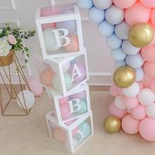 30cm Transparent Name Age Balloon Box Baby Shower 1st Birthday Party Decor Kids Happy Birthday Ballon Decor Babyshower Supplies