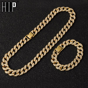 Hip Hop Miami Curb Cuban Chain Necklace 15MM Gold Iced Out Chains Paved Rhinestones CZ Bling Rapper Necklaces Men Jewelry