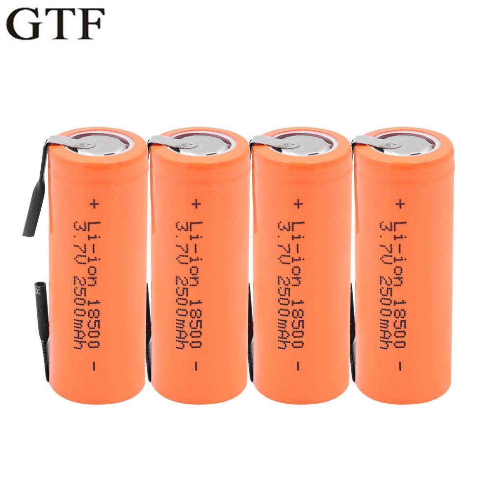Bateria de íon de lítio gtf 3.7v 18500, 2500mah com 2 abas de soldagem 18500 2500mah para led lanterna mecânica farol