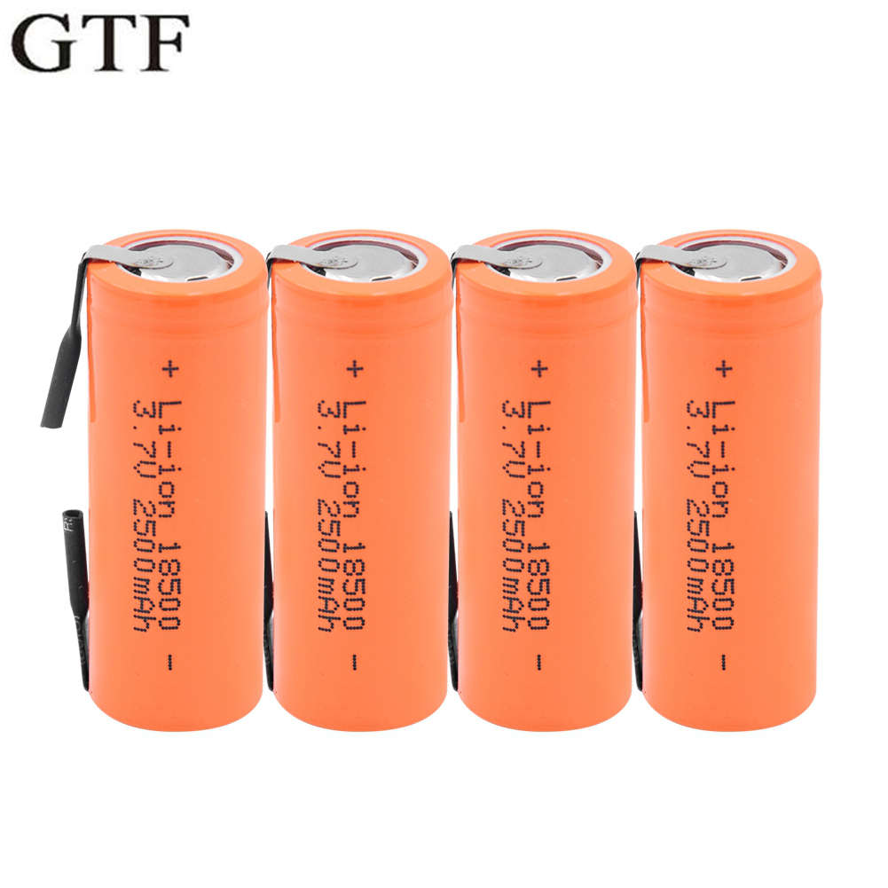 GTF 3.7V 18500 Li-ion Battery 2500mAh With 2 Welding Tabs 18500 2500mAh Lithium ion Cell For Led Flashlight Headlight Mechanical image