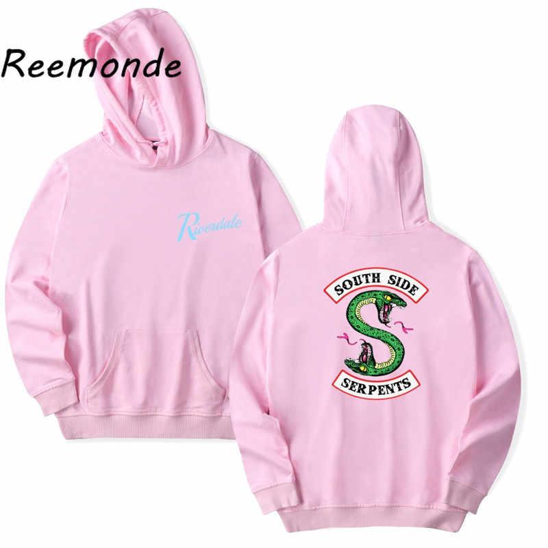 南側蛇 Riverdale Southside ための男性少年少女クールファッション黒ピンクトップスコートパーカー服