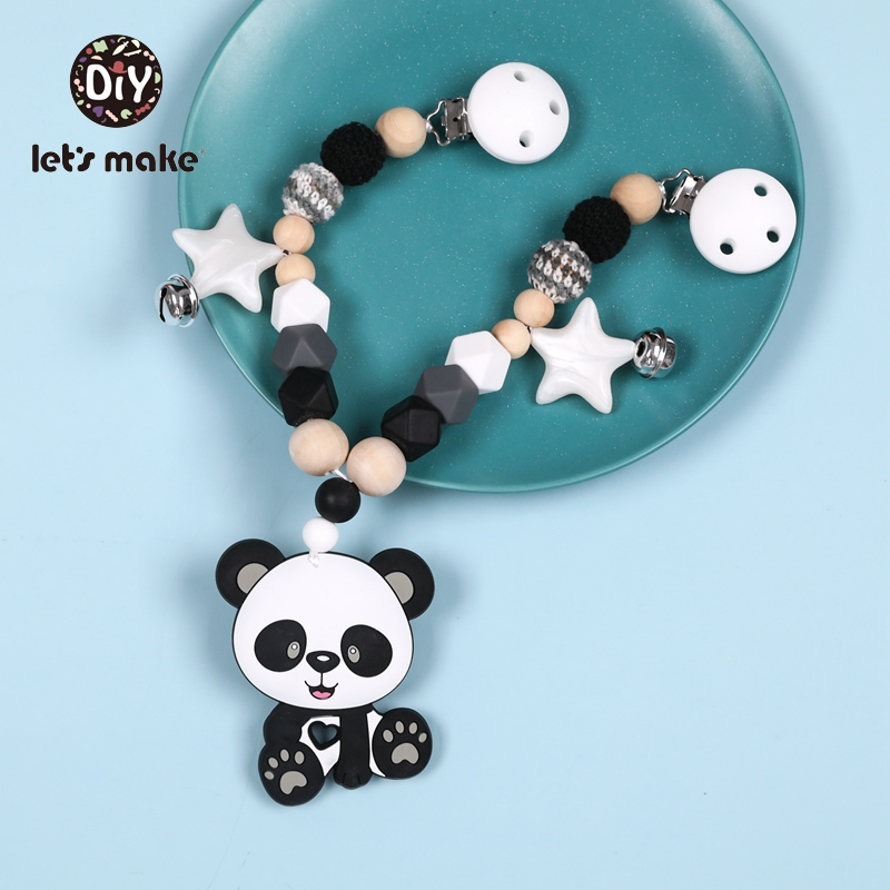 Let's Make Pram Cart Chain Silicone Animal Teether Baby Bed Hanging Rattle Toys Panda Fox Crochet Beads Bracelet Baby Rattles