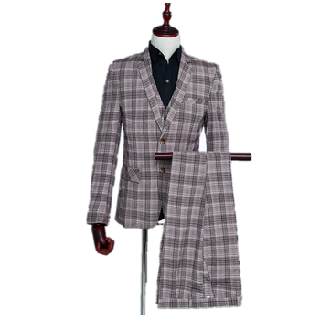 Fashion Men's Business 3 Piece set Suit Wedding Prom  Costume Coffee Grid Notch Lapel Slim Casual Suit Set(Coat + Vest + Pant)