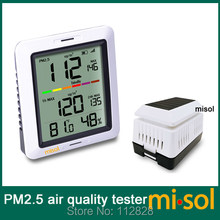 MISOL/1 unit of PM2.5 air quality tester monitor wireless, with indoor temperature and humidity, solar powered