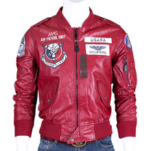 Plus Size 4XL Automotive Biker Desigenr Heren Leren Jas Jassen Ons Stijl Air Patrol Unit Pu Jassen Motorfiets Heren Jas c1668(China)