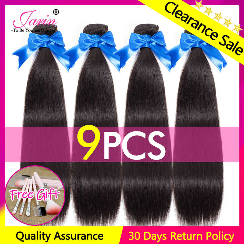 JARIN 9 Pieces/lot Peruvian Straight Human Hair Extension 100% Remy Hair Bundles Deal 30 Inch Long Hair Weave Can Mix Length