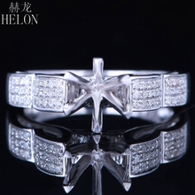 HELON 6mm Round Sterling Silver 925 White Gold Color 0.3CT Natural Diamonds Semi Mount Ring Engagement Classic Fine Jewelry Ring