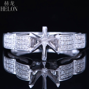 Image 1 - HELON 6mm Round Sterling Silver 925 White Gold Color 0.3CT Natural Diamonds Semi Mount Ring Engagement Classic Fine Jewelry Ring