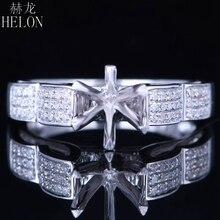 HELON 6mm redondo Plata de Ley 925 oro blanco Color 0,3ct diamantes naturales Semi montaje Anillo Compromiso clásico anillo de joyería fina
