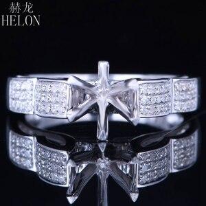 Image 1 - HELON 6mm redondo Plata de Ley 925 oro blanco Color 0,3ct diamantes naturales Semi montaje Anillo Compromiso clásico anillo de joyería fina