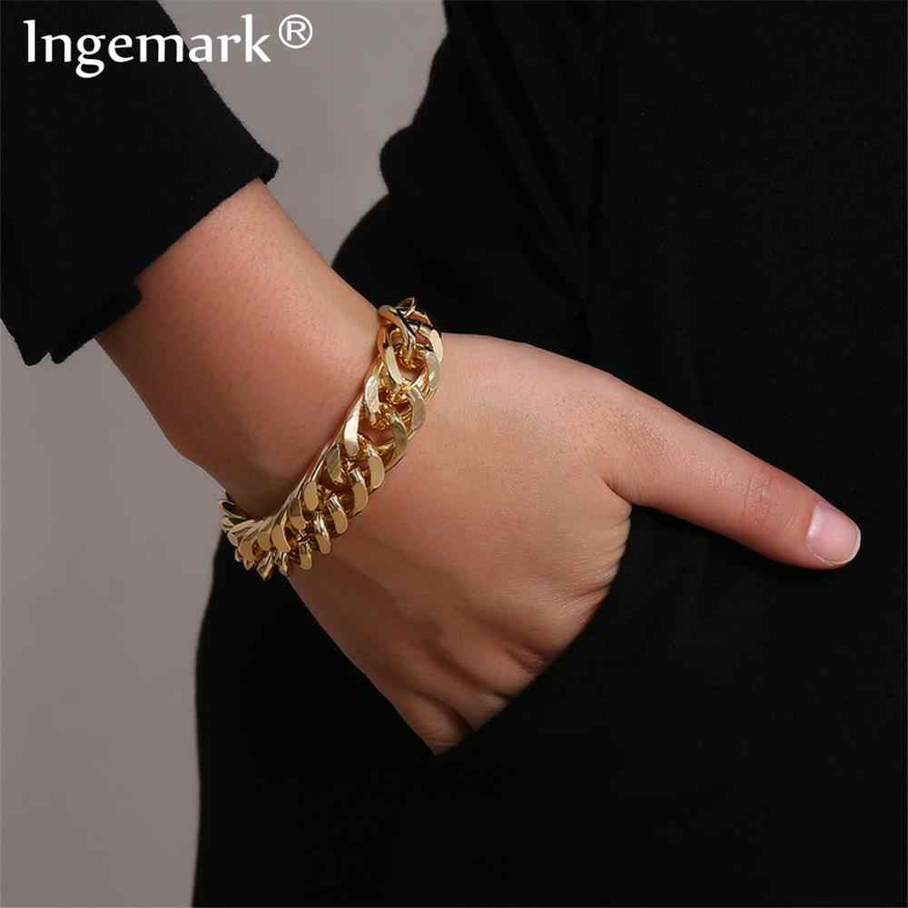 Ingemark Punk Miami Cubaanse Snake Chain Armband Accesorios Mujer Boho Heavy Metal Chunky Lock Armbanden Voor Vrouwen Sieraden