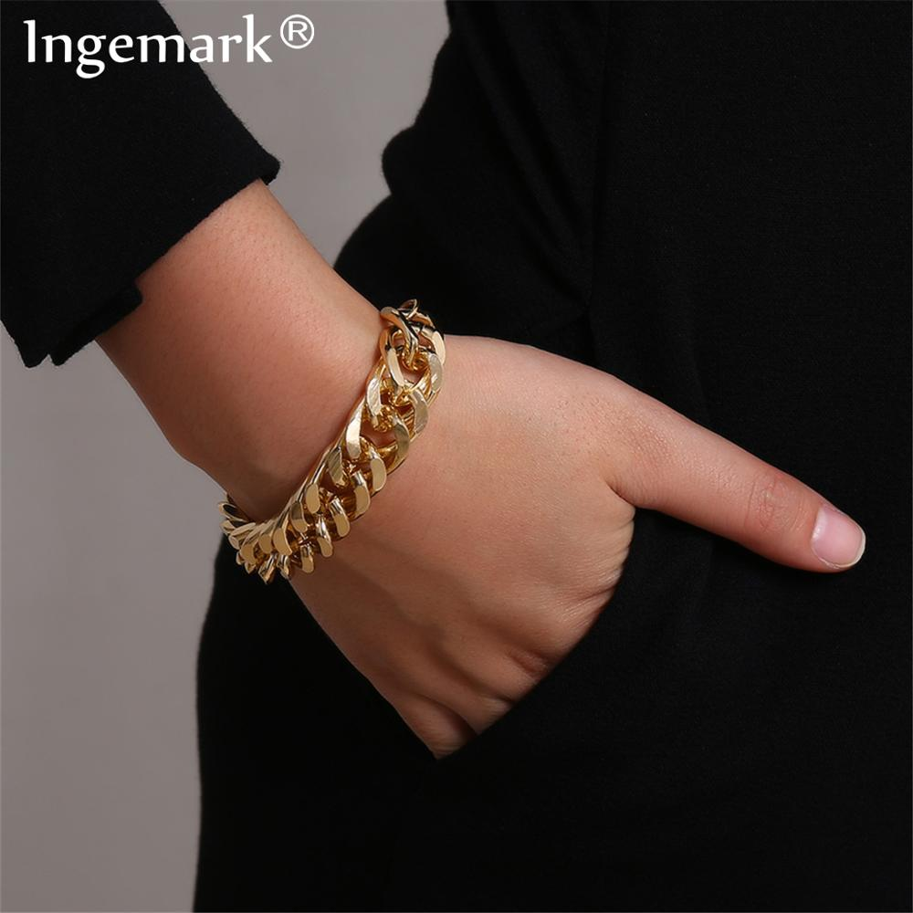 Ingemark Punk Miami Cuban Snake Chain Bracelet Bangle Accesorios Mujer Boho Heavy Metal Chunky Lock Bracelets for Women Jewelry(China)