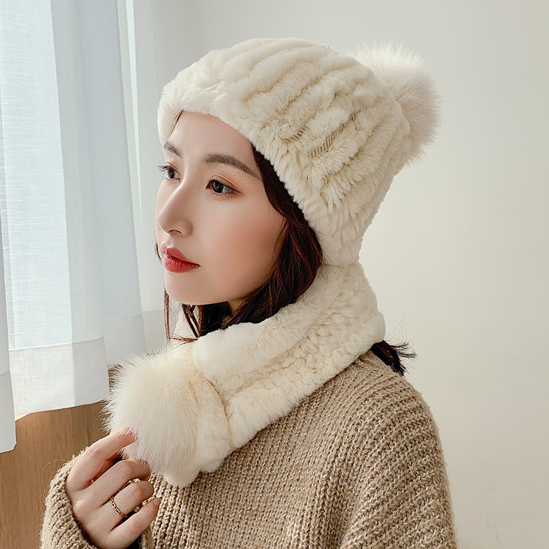 Lantafe Hat And Scarf Fur Hat Kit Hat Scarf Rex Rabbit Fur Winter Accessories Warm Woven Hat Knit Cap With Fox Fur Ball