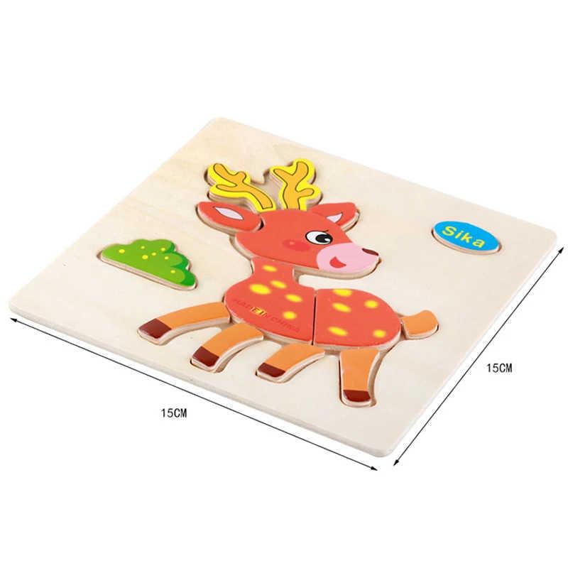 Đồ Chơi Cho Bé Bằng Gỗ 3D Xếp Hình Hoạt Hình Động Vật Thông Minh Trẻ Em Vấn Giáo Dục Teaser Trẻ Em Tangram Hình Học Ghép Hình