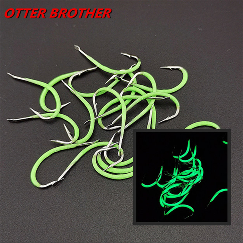 10Pcs/Lot Luminous High Carbon Steel Barbed Fishing Hook 9#-18# Stainless Annular Shape Noctilucent FishHook Pesca Accessories