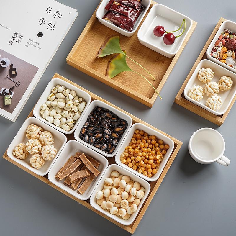 Многофункциональная керамическая коробка бамбуковые поддоны для хранения домашней кухни еда десерт чайная тарелка гайка закуска Конфета Органайзер украшение поднос для сервировки-1