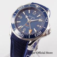 цена BLIGER Brand Self Winding Men Watch Sapphire Glass Blue Dial Rubber Strap GMT Model Ceramic Bezel онлайн в 2017 году