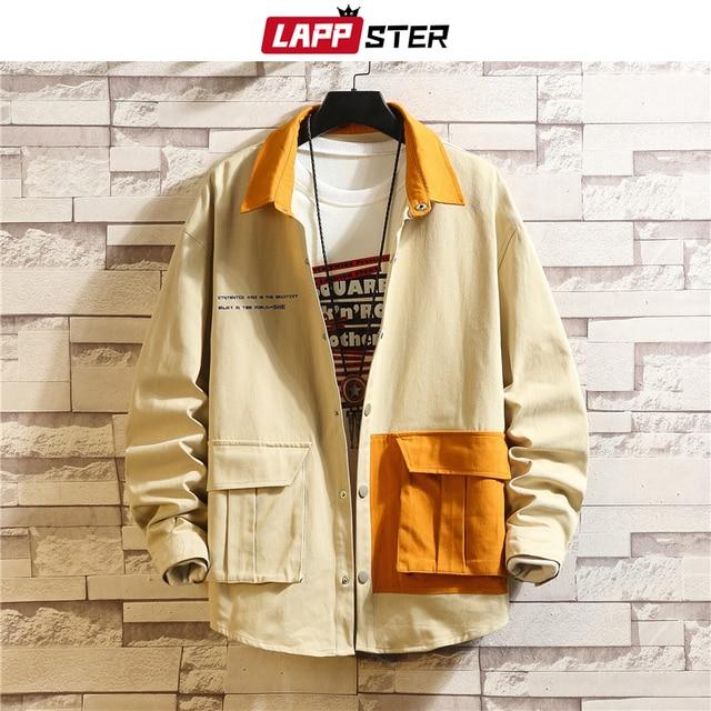 LAPPSTER erkekler kore modası ceketler 2020 sonbahar erkek japon Streetwear renk blok rüzgarlık Harajuku haki mont artı boyutu