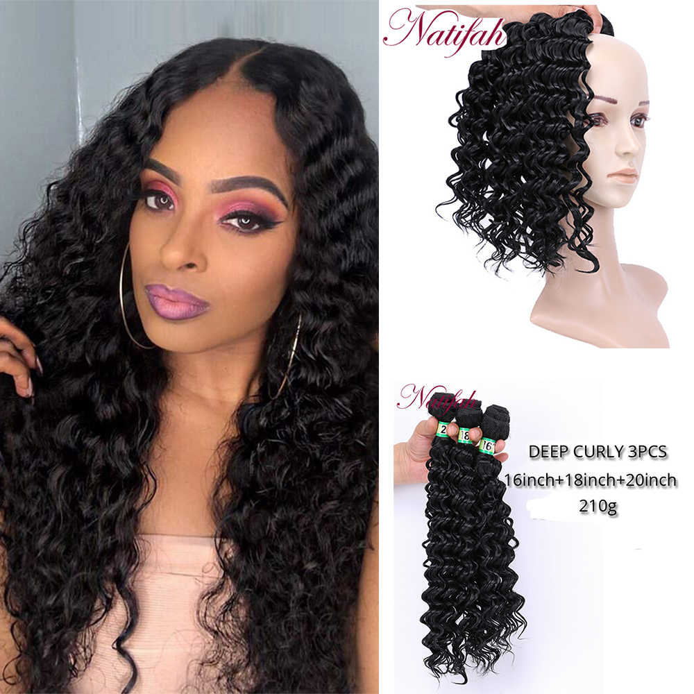Natifah Deep Curly Bundles 16 18 20 inch Weaving Curly Hair Black High Temperature Synthetic Hair Extensions for Black Women