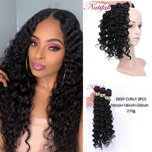 Natifah Deep Curly Bundles 16 18 20 inch Weaving Curly Hair Black High Temperature Synthetic Hair Extensions for Black Women(China)