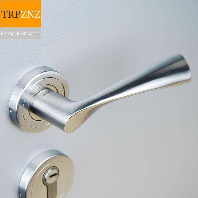 Haute qualité 304 en acier inoxydable solide poignée serrure de porte Split-type chambre poignée serrure salle intérieure porte serrure poignée