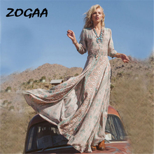ZOGAA 2019 Sexy Dresses Retro Floral Printing Beach Women Boho Dress Summer Long Maxi Deep V Clothing Plus Size XL