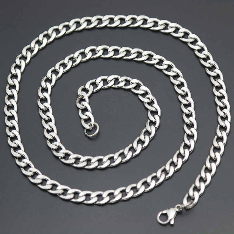 Srebrny złoty naszyjnik kobiety męska Titanium stal nierdzewna Figaro płaski O Link Chain, 3-7MM szeroki duże naszyjniki kobiety hurtownie