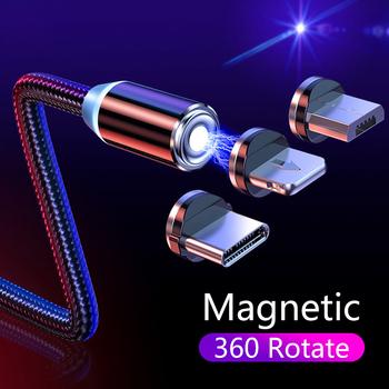 Magnetyczny kabel ładujący do iphone #8217 a Samsung Android szybka ładowarka magnetyczna Micro USB typ C kabel przewód do telefonu komórkowego tanie i dobre opinie HICUTE LIGHTNING TYPE-C 2 4A CN (pochodzenie) NYLON USB A Magnetyczne Podświetlany Ze wskaźnikiem LED