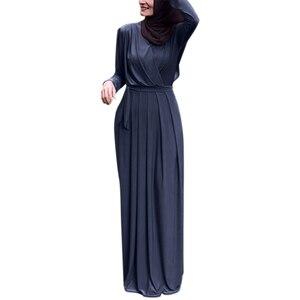 V-neck Pleated Long Abaya Women Fashion Long-sleeve Solid Color Muslim Clothing Ladies Islamic Clothes Abayas Ramadan Dresses