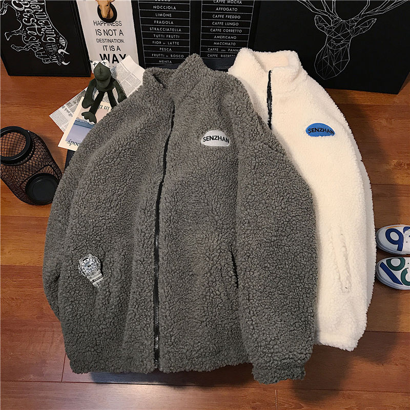 2020 Faux lamb wool coat winter clothes women zipper sweatshirt all-match thinner stand collar cardigan harajuku hoodie women 1