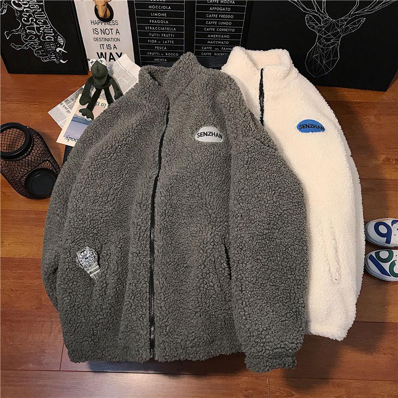 2020 Faux lamb wool coat winter clothes women zipper sweatshirt all-match thinner stand collar cardigan harajuku hoodie women 1