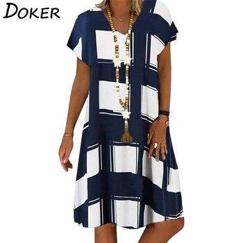 Женское Повседневное платье в клетку, летнее винтажное платье с v-образным вырезом и коротким рукавом, Пляжное свободное платье миди большого размера в стиле бохо
