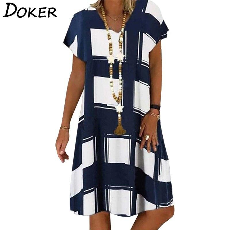 Summer Lattice Print Casual Dress Women's V-neck Short Sleeve Vintage Dresses For Women Plus Size Beach Boho Loose Midi Dress